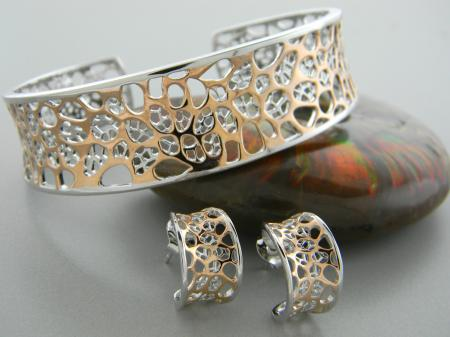 Sterling silver and rose gold vermeil bangle and earring set