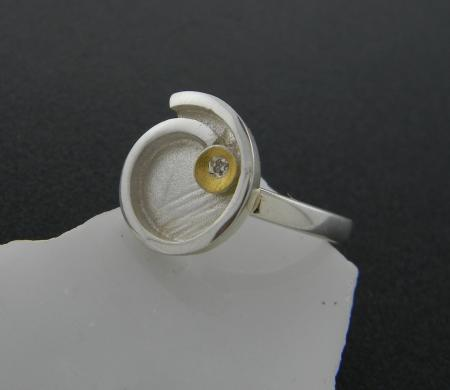 Sterling silver and 24 karat gold swirl ring