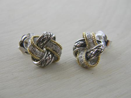 Sterling silver and 18 karat gold diamond love knot earrings