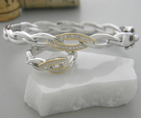 Sterling silver and 18 karat gold diamond bangle and matching ring