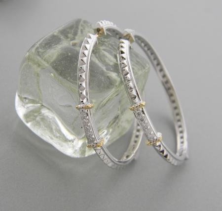 Sterling silver and 18 karat gold diamond hoops