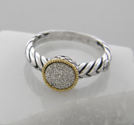 Sterling silver and 18 karat gold diamond cluster  ring. $350.00