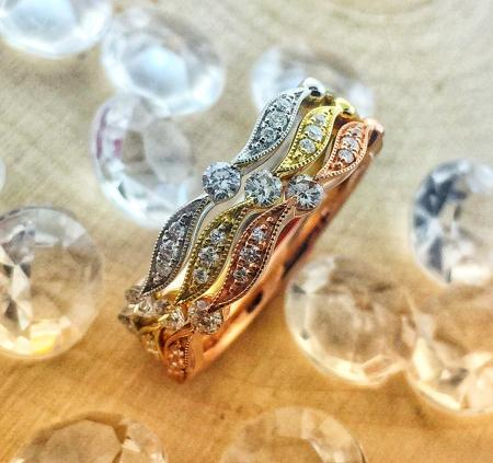 rose gold, yellow gold and white gold diamond stackable rings