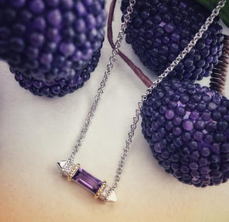 Sterling silver, 18 karat gold, amethyst and diamond necklace