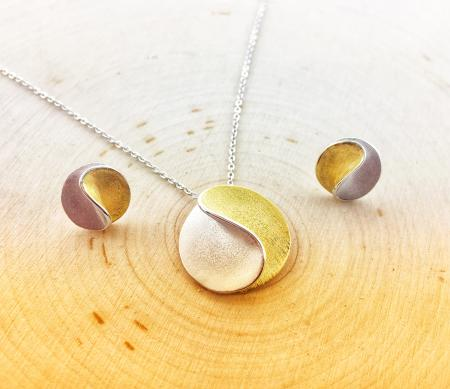 Sterling silver and 14 karat gold vermeil necklace and earring set