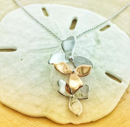 Sterling silver and rose gold vermeil petal trio necklace