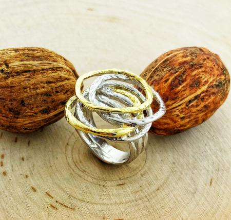Sterling silver and 14 karat vermeil ring. $260.00