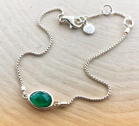 Sterling silver faceted green agate bracelet. $90.00