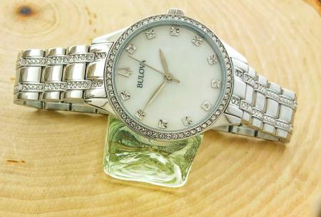 Ladies Bulova with a mother of pearl dial and Swarovski crystal accents