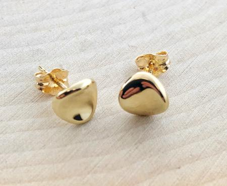 14 karat yellow gold button style curved stud earrings. $157.00