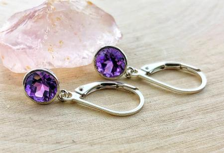 sterling silver amethyst dangle earrings. $75.00