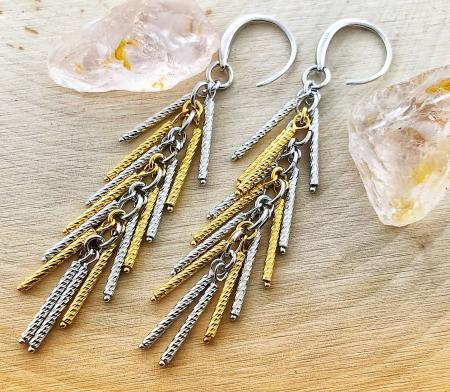 Sterling silver and 18 karat yellow gold vermeil tassel earrings. $269.00