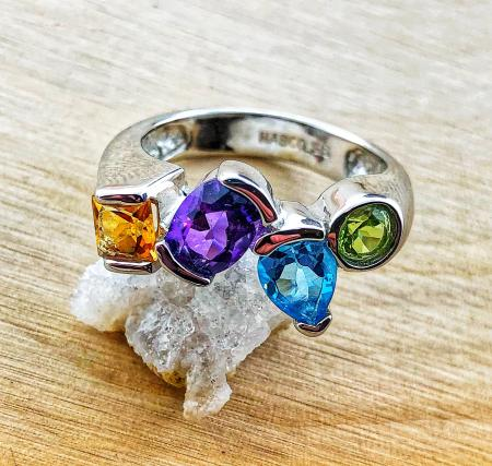 Sterling silver citrine, amethyst, topaz and peridot ring. $345.00
