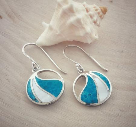Sterling silver blue turquoise and mother of pearl earrings. $80.00