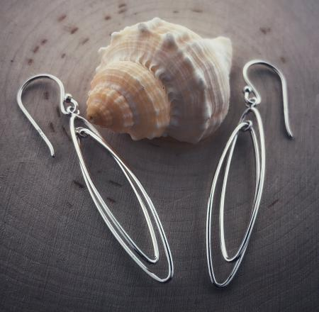 Sterling silver marquise dangle earrings. $50.00