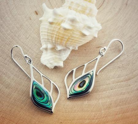 Sterling silver abalone earrings. $85.00