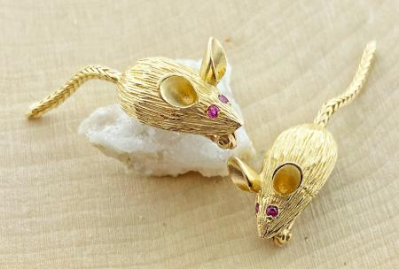 The mouse pin. Fashioned in 14 karat yellow gold and hand engraved. $525.00 each