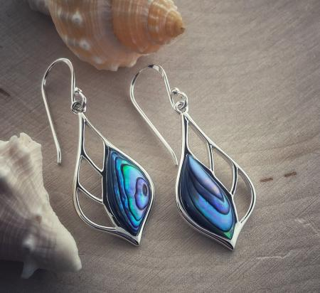 Sterling silver and abalone dangle earrings. $85.00