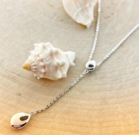 "Sterling silver pebble ""Y"" necklace. $115.00"