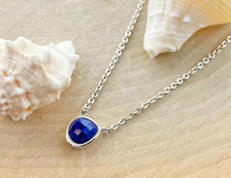 Sterling silver blue lapis necklace. $90.00