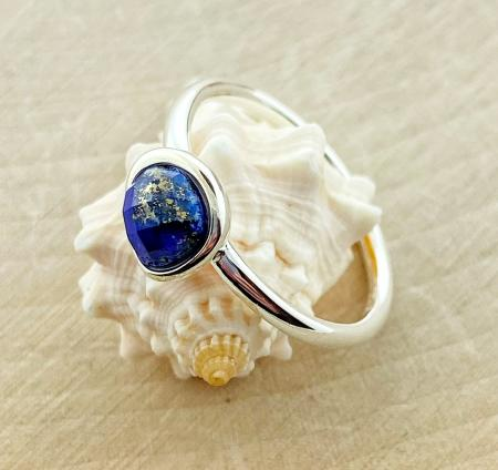Sterling silver blue lapis ring. $70.00
