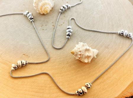 "Sterling silver 32"" pebble necklace. $ 360.00"