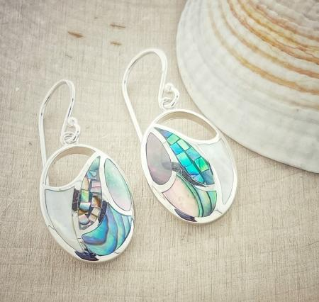 Sterling silver mother of pearl and abalone earrings. $155.00