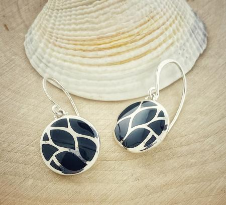 Sterling silver black onyx inlay circle earrings. $115.00